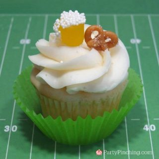 best super bowl food recipe ideas, super bowl cupcake, football cupcake, beer & pretzel cupcake, super bowl food
