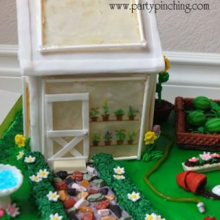 Greenhouse gingerbread house cake, garden party ideas, cute food, fun food for kids, sweet treats, garden cookies, mini vegetables made from candy, watermelon fondant, garden party, mini vegetables made from candy