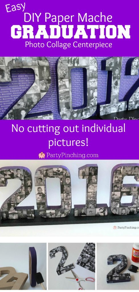 easy paper mache photo collage diy, paper mache numbers, paper mache letters, best diy graduation photo collage