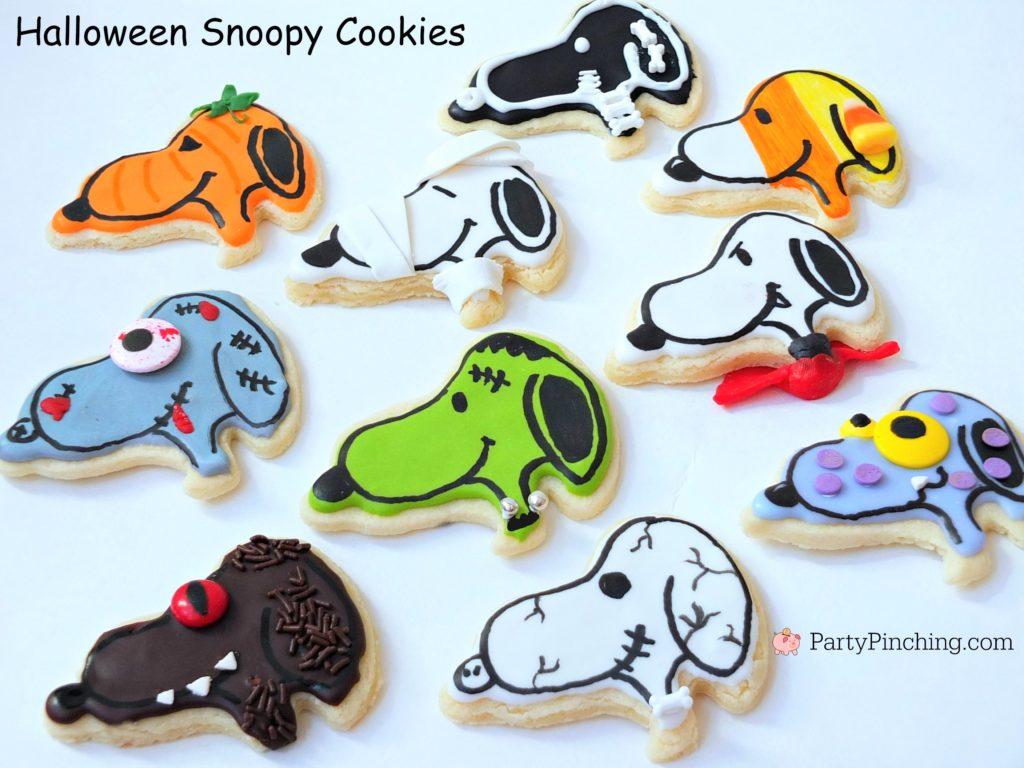 snoopy halloween cookies in costume as frankenstein dracula skeleton