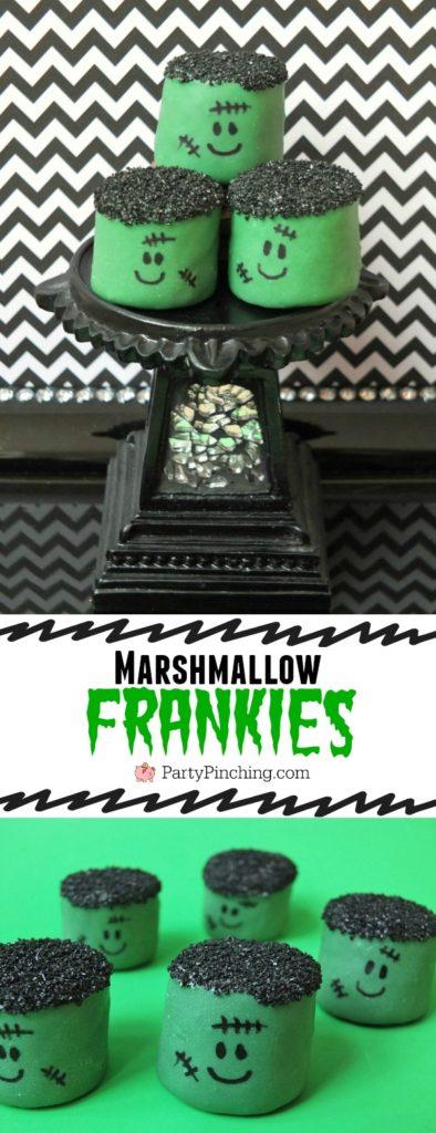 marshmallow frankensteins, easy halloween dessert, halloween party ideas for kids, marshmallow frankies