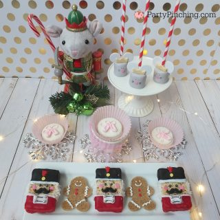 nutcracker sweets, nutcracker party treats dessert table ideas, rice krispie nutcracker, ballet slipper nutcracker oreo cookies, mouse king marshmallow pops, cute food, fun food for kids, ballet party ideas, nutcracker ballet party ideas