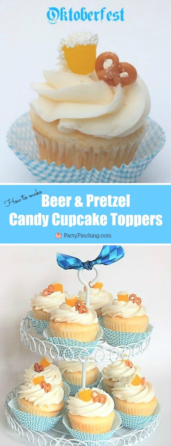 Oktoberfest dessert, easy Oktoberfest food ideas, Oktoberfest party ideas, beer pretzel cupcake, candy beer cupcake topper, candy pretzel caramel, mini beer pretzel candy cupcake topper