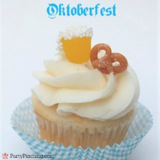 Oktoberfest dessert, easy Oktoberfest food ideas, Oktoberfest party ideas, beer pretzel cupcake, candy beer cupcake topper, candy pretzel caramel, mini beer pretzel candy cupcake topper
