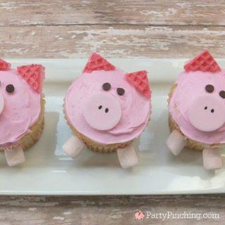 pig cupcakes, cute farm cupcakes, barnyard cupcake theme party, farm party cupcakes, cute piggy cupcakes, sweet treats, fun food for kids, national pig day
