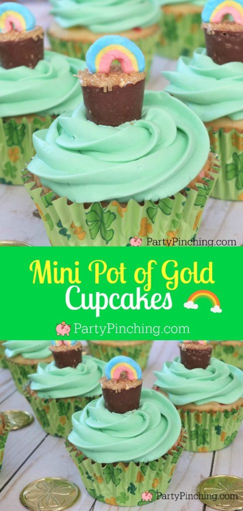 st patrick's day cupcake, easy st patricks day dessert, st patricks day party ideas for kids, pot of gold cupcake, lucky charms cupcake