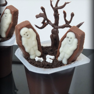 Chocolate Zombie Pudding Cups
