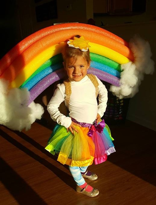 DIY RAINBOW COSTUME, cute toddler kids baby Halloween costumes, easy costume ideas, fun costume rainbow unicorn ideas