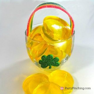 easy St. Patrick's day dessert ideas, cute food, fun food for kids, Jello pot of gold, St. Paddy's day treat ideas, rainbow pot of gold dessert