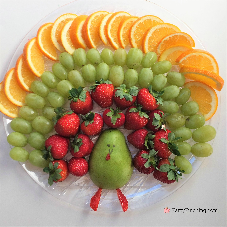 turkey fruit platter, cute fruit platter, Thanksgiving fruit platter, fun fruit thanksgiving appetizers, easy fruit platter for kids