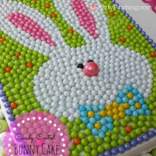 Easter Funny Cake, cute Easter cake, bunny cake, rabbit cake, easy and fun Easter dessert ideas, Easter dinner menu, Easter brunch ideas, cute food, fun food for kids, Sixlets candy, candy cake, Sixlets candy cake