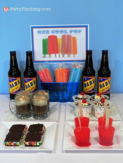 Father's Day, one cool pop, Father's day party ideas, desserts for Father's Day, popsicle party ideas, Dad's root beer floats, fun Father's Day ideas