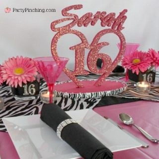 Sweet 16 birthday party for a girl, pink zebra print birthday party, budget friendly sweet 16 birthday party ideas, inexpensive cheap sweet 16 ideas, cute pretty pink birthday party table setting cupcake ideas