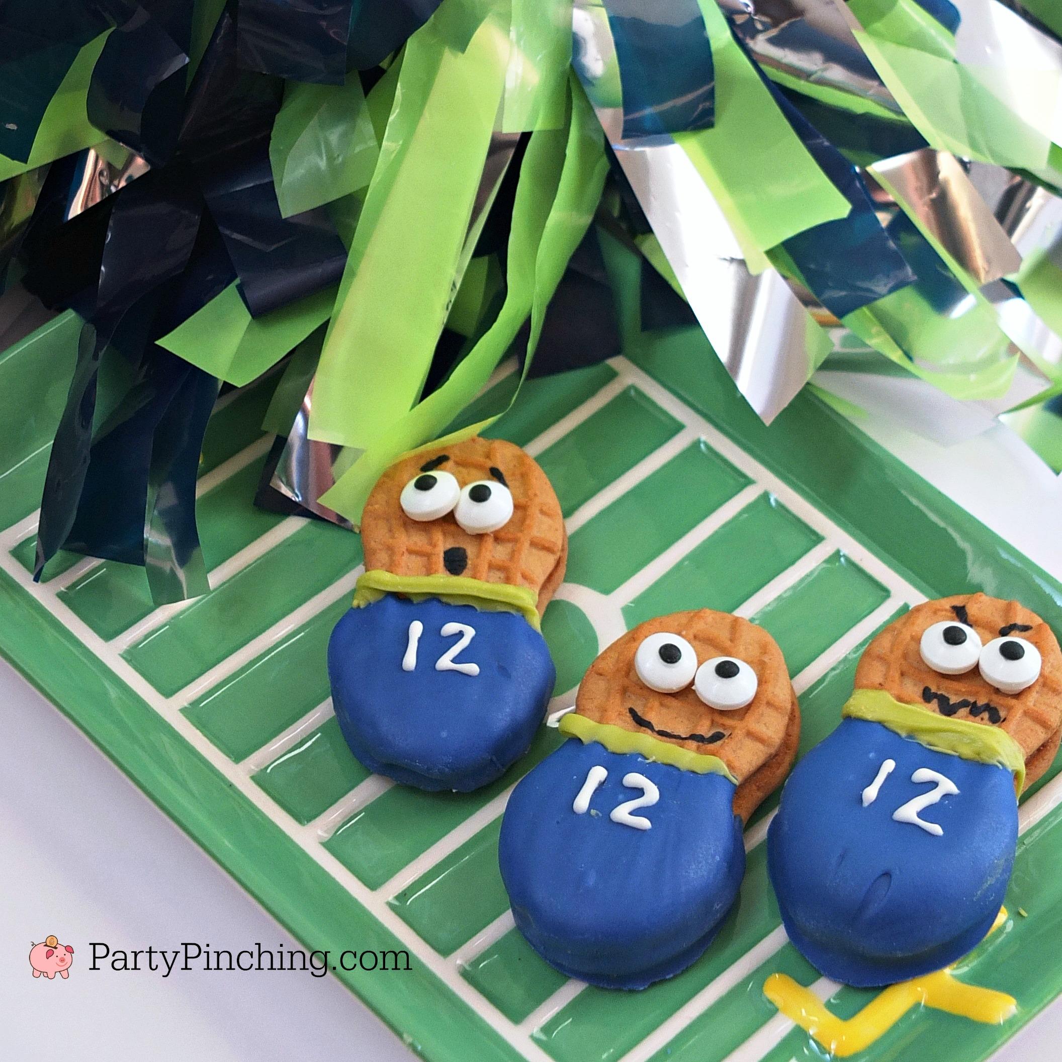 super bowl food, Seattle Seahawks cookies cupcakes, 12th man cupcakes, 12th man Nutter Butter cookies, football cupcakes and cookies