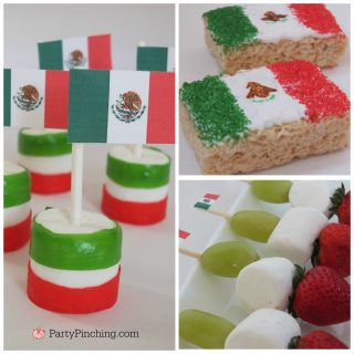 Mexican Independence Day treats, flag of Mexico rice krispie treat cookie dessert, Mexican marshmallow, flag of Mexico marshmallow treat with fruit rolls, flag of Mexico fruit skewer