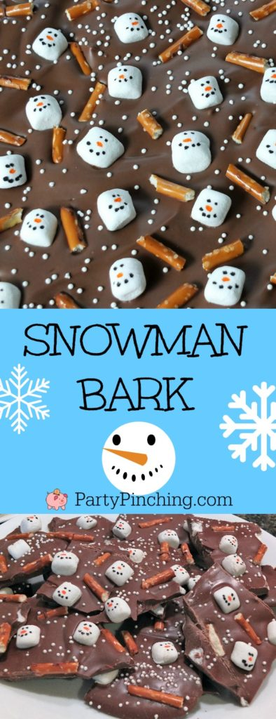 snowman bark, christmas bark, easy homemade Christmas ideas, chocolate bark, cute snowman bark