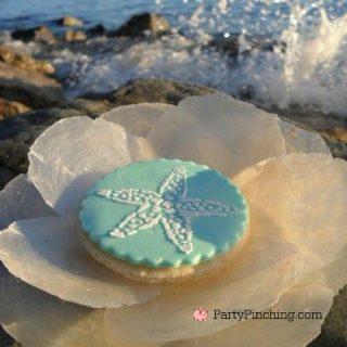 beach picnic, summer dessert cookies treats, beach party ideas, cute food, stenciled cookies, seashell cookies, shell cookies, cute food, fun food for kids, pretty cookies beach shell
