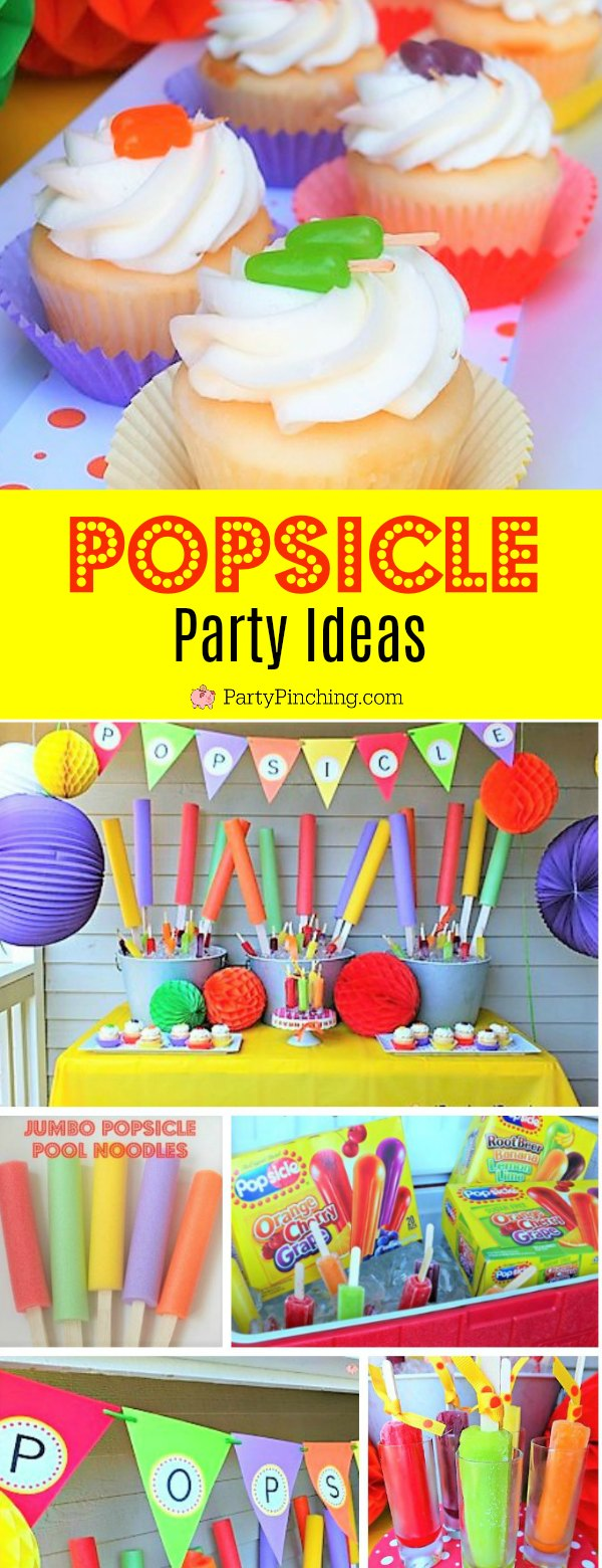 Popsicle party, popsicle pop up party, popsicle cupcakes, popsicle table, popsicle ideas, DIY giant popsicle pool noodle, summer party ideas fun and easy.