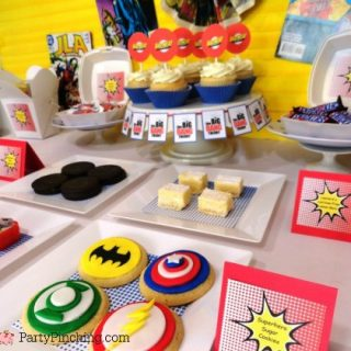 Big Bang Theory Party ideas, comic con party ideas, geek party food, cute food, comic book cookies, bazinga cupcakes, Big Bang Theory tv show, teenage birthday party ideas
