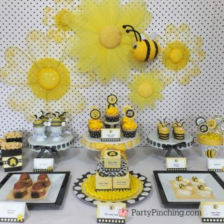 bee day birthday party, bee theme party shower, bee cookies, bee cupcakes, bee theme food, bee donut hive, cute food, fun food for kids