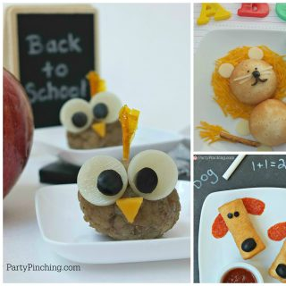 back to school snack food lunch ideas, Farm Rich foods, cute food, fun food for kids, owl meatballs, cute lion safari snacks, dog puppy pizza roll ups