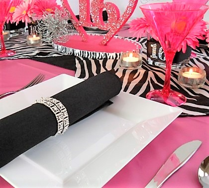 sweet 16 pink zebra glitter, affordable budget friendly sweet 16 party ideas, sweet pink 16 party for a girl