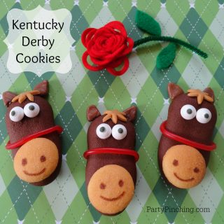 Kentucky Derby dessert treat party ideas, cute food, fun food for kids, horse cookies, Milano horse cookies, cute horse farm party cookies, horse cupcakes