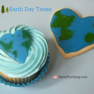 Earth Day treats, Earth Day cupcakes, Earth day cake pops, Earth Day heart cookies, cute food, fun food for kids