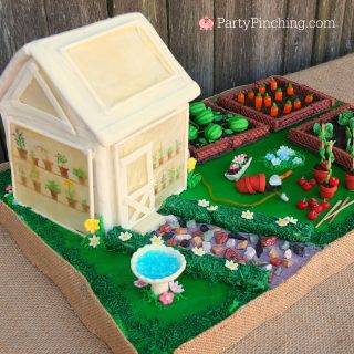 Garden party, greenhouse cake, greenhouse gingerbread house, flower Oreos, umbrella cake cookie pops, candy carrots lettuce tomato garden, lady bug cookies, garden party ideas, cute food, sweet treats, fun food for kids