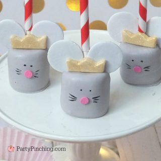 mouse king marshmallow pop, nutcracker ballet mouse king, nutcracker Christmas theme party ideas, cute Christmas nutcracker dessert recipe, cute food, fun food for kids, sweet treats, holiday nutcracker party food ideas