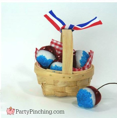 red white blue cherries, 4th of july cherries, patriotic treats, red white blue desserts, memorial day picnic