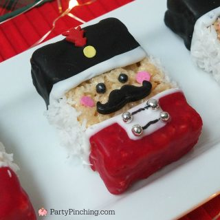 Nutcracker rice krispie treats, Nutcracker Christmas party ideas, fun and easy Nutcracker theme cookie party ideas