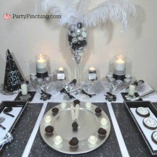 New year's eve party ideas, black and white New Year's eve theme party, budget friendly inexpensive cheap New Year's party ideas, New year's eve party treats desserts, easy New Year's eve party food, sweet treats