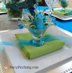 Peacock luncheon, peacock party, Peacock Peep marshmallow, key lime mousse, peacock cookies, peacock cupcakes, peacock table setting, peacock feathers party decor table