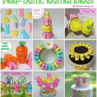 Peep party ideas, cute peep marshmallow crafts desserts, fun Easter ideas for kids, bunny and chick peeps, peep wreath, peep cakes, peep cookies, peep basket, peep pudding, peep carrots, peep favors