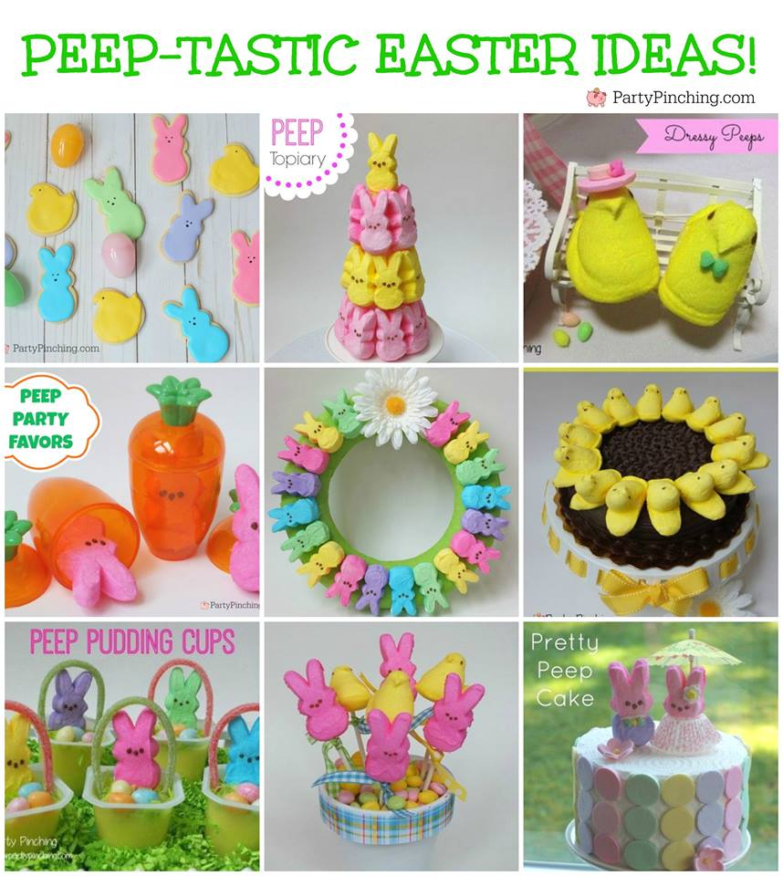 Peep party ideas, cute peep marshmallow crafts desserts, fun Easter ideas for kids, bunny  and chick peeps, peep wreath, peep cakes, peep cookies, peep basket, peep pudding, peep carrots, peep favors