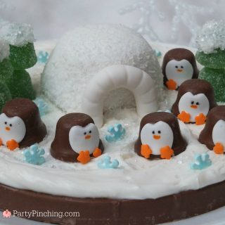 chocolate penguin, RM Palmer Mega coin, cute Christmas penguin dessert treat ideas, fun food for kids, cute food, sweet treats, winter sweet penguin snow scene, snack cake snowball igloo, igloo penguin cake