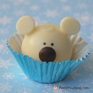 polar bear truffle, Christmas winter polar bear sweet treat dessert, cute polar bear dessert, easy and fun polar bear winter Christmas dessert, sweet treats, easy fun food for kids for the holidays, cute food