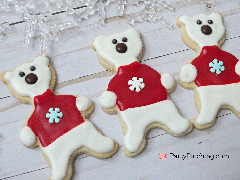 Polar bear cookies, cute polar bear cookies, winter Christmas cookies, fun food for kids, sweet treats, bear cookies, bears with sweater cookies, adorable cookie ideas
