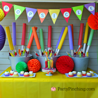 Popsicle party, summer fun party, cool treats for summer party, easy and fun summer treat party dessert picnic ideas, cute food, fun food for kids, cherry grape orange Popsicles, popsicle cupcakes