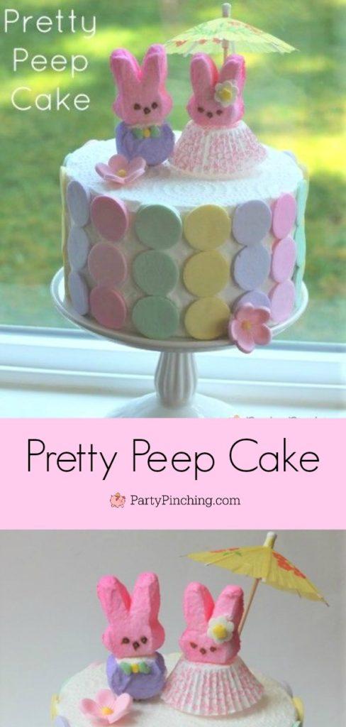 Pretty Peep cake for Easter, cute Peep Bunny's dressed up drink umbrella, best Easter recipe food ideas, cute easy Easter Peep ideas, pastel bunny cake