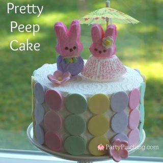 Easter bunny Peep cake, pretty Peep cake, Bunny marshmallow Peeps, cute food, fun food for kids, easy Easter cake, Easter dinner brunch ideas, Easter dessert cake ideas, bunny cake