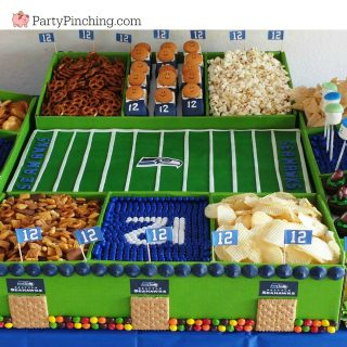 Super Bowl snack stadium, Super bowl Seahawks snack stadium, food football stadium, best Super Bowl snack stadium idea, DIY Super Bowl snack stadium, fun and easy Super Bowl Snack stadium