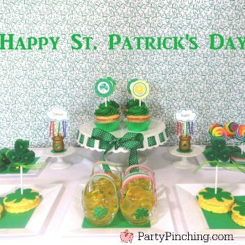 St. Patrick's Day party ideas, St. Patrick's day dessert treat ideas, easy St. Patrick's day dessert ideas, St. Patrick's day cookies, St. Patrick's day table setting crafts, St. Patrick's day cake rainbow, cute food, sweet treats, fun food for kids