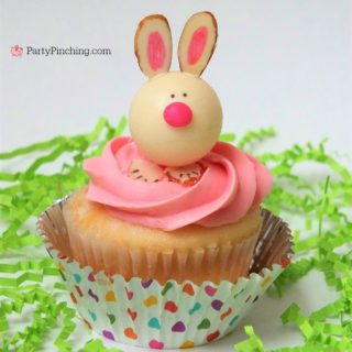 cute bunny truffles for Easter, Lindt bunny truffles, easy to make Easter bunny cupcake toppers, best Easter recipes ideas for kids