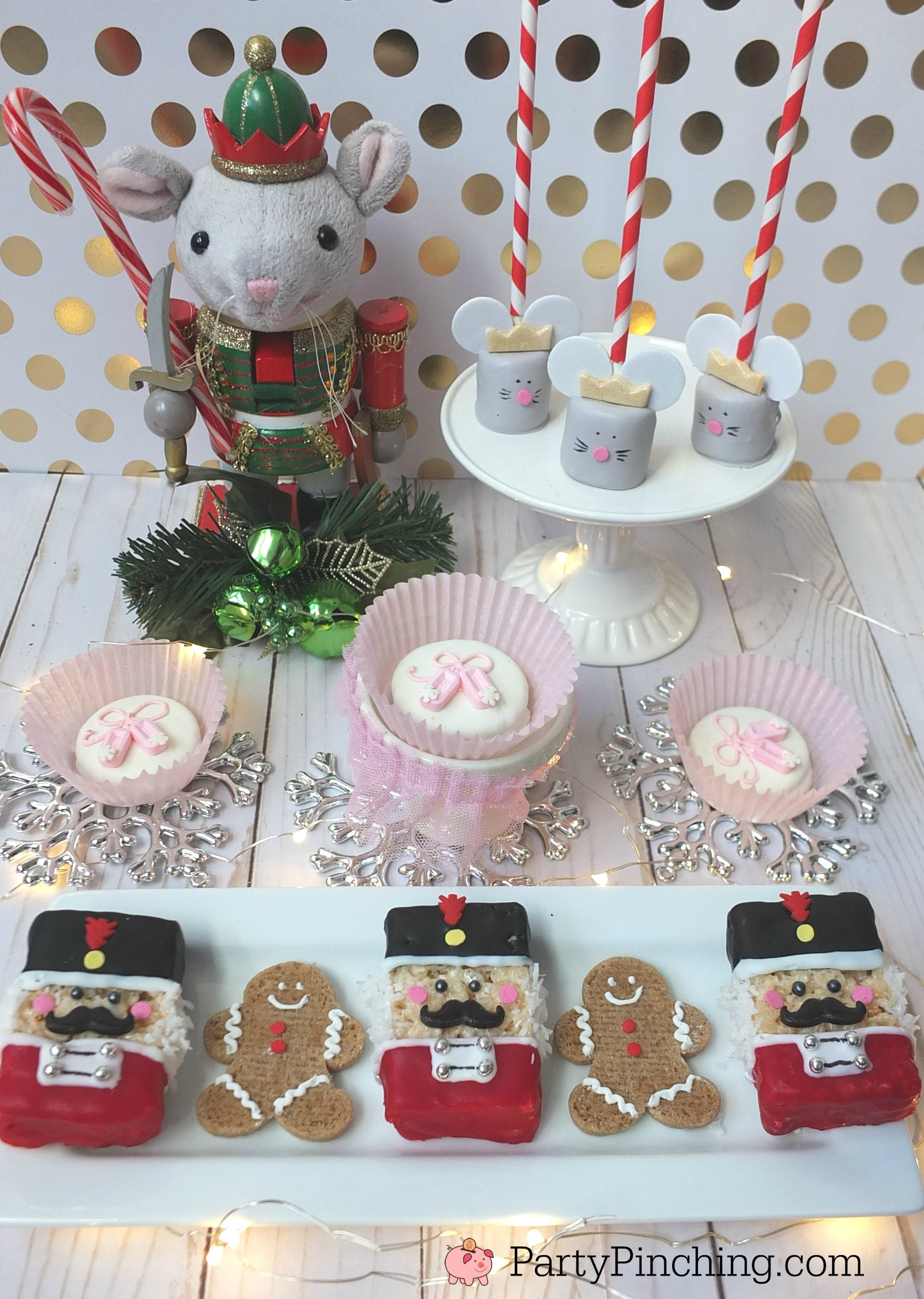 Nutcracker suite party, nutcracker sweets, mouse king ballet slipper toy soldier treats, cute Christmas treats for kids, Nutcracker ballet party ideas