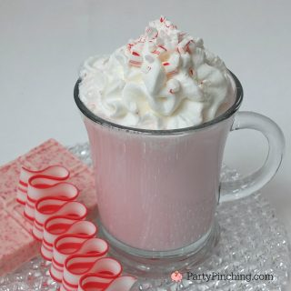 peppermint white hot chocolate, RM peppermint bark, peppermint bark chocolate recipe, easy Christmas holiday drink ideas, Christmas drink recipes