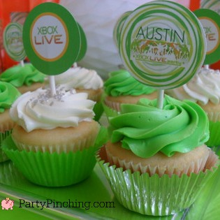 XBOX party ideas, teen boy party ideas, XBOX cupcakes, XBOX decor ideas, XBOX party ideas, video game party ideas, video game cupcakes, video game decor, video game birthday theme, XBOX birthday party theme
