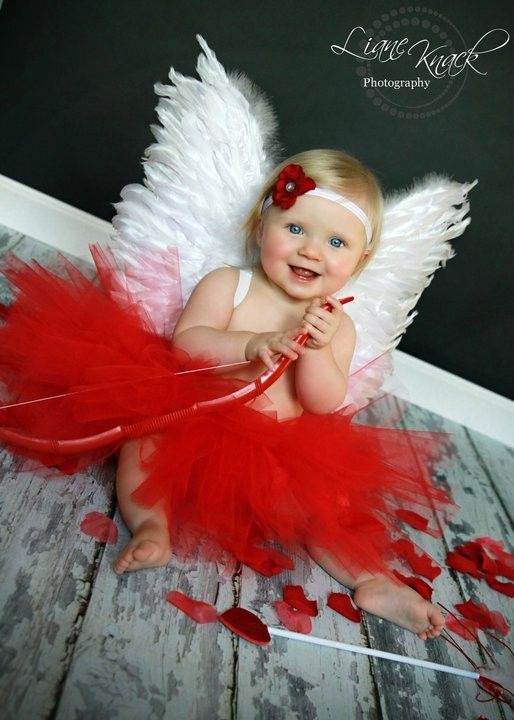 Adorable cute cupid Valentine's Day baby girl photo shoot idea for kids, red tutu feather wings cupid, Valentine's day props for cupid baby infants
