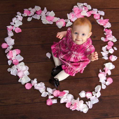 easy heart rose petal Valentine's day photo shoot for baby babies and infants, DIY heart Valentine's day photo shoot